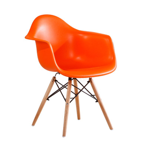 Orange Stylish Arm Chair with Wood Legs