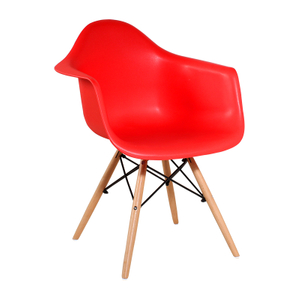 Red Portable Arm Chair with Wood Legs