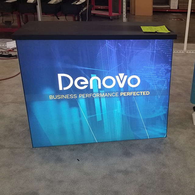 Environment Friendly Aluminium Illuminated Tradeshow Display Booth with Curved Desk