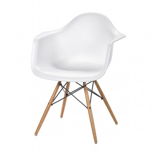 White Plastic Arm Chair with Wood Legs
